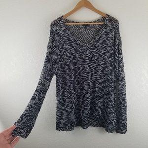 Eileen Fisher Black + White Heathered Knit Sweater